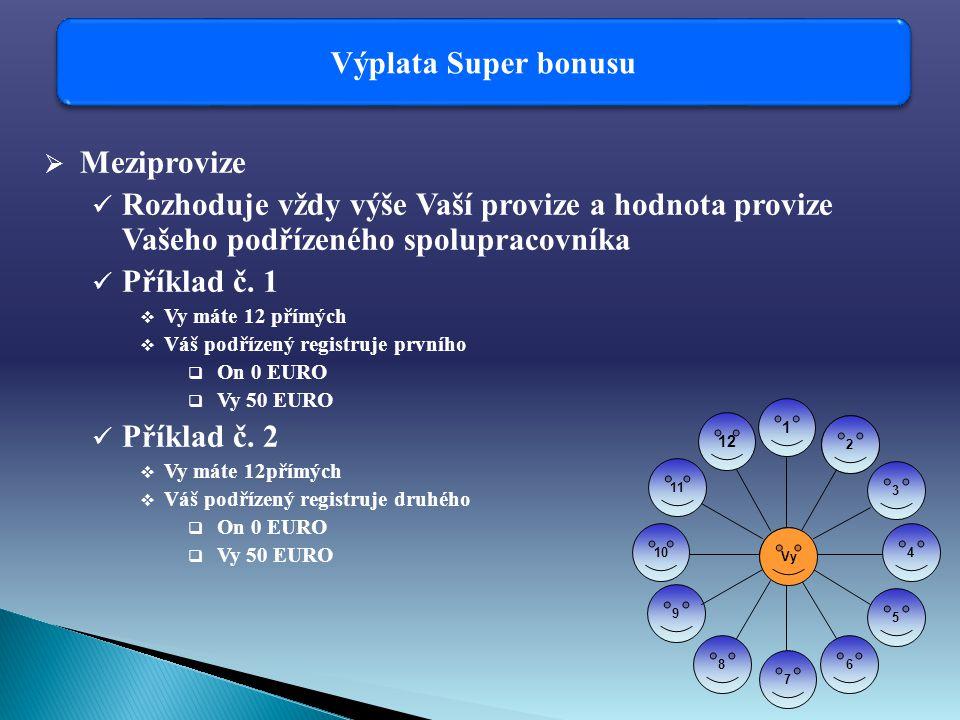 Výplata Super bonusu  Meziprovize Rozhoduje vždy výše Vaší provize a hodnota provize Vašeho podřízeného spolupracovníka Příklad č.