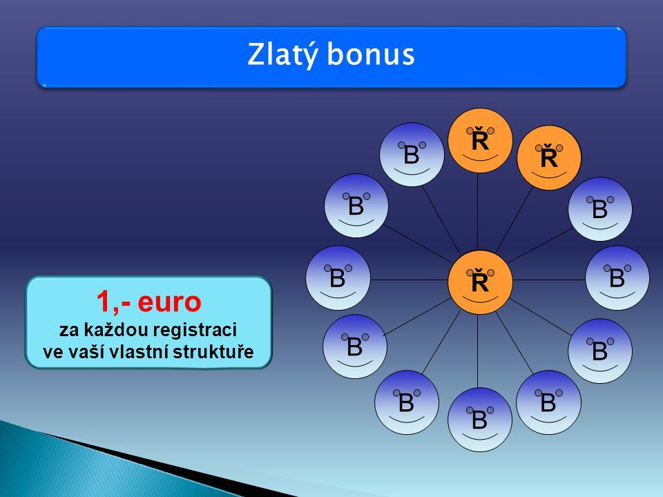 Zlatý bonus 1,- euro za každou registraci ve vaší vlastní struktuře B B B B B BB B B B B Ř Ř Ř B Ř