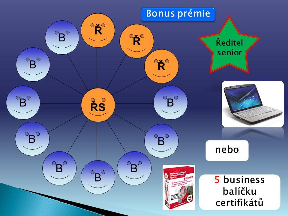 B B B B B BB B B B B B Ř Ř Ř ŘSŘS Ředitel senior 5 business balíčku certifikátů nebo Bonus prémie