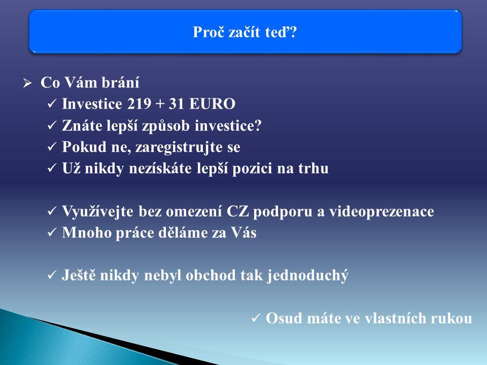 Proč začít teď.  Co Vám brání Investice 219 + 31 EURO Znáte lepší způsob investice.