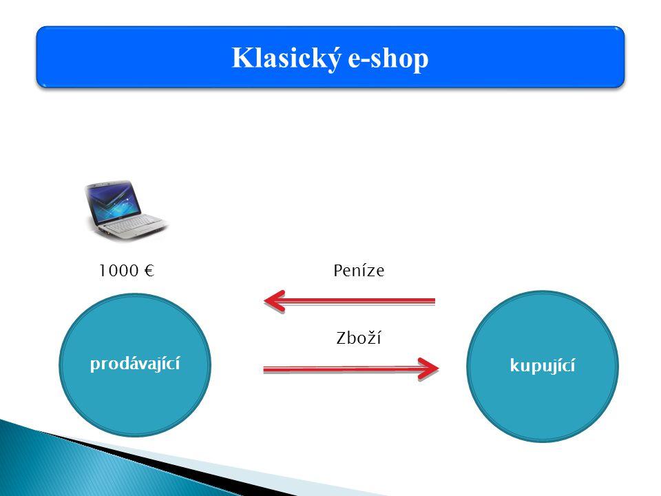 prodávající 1000 € kupující Klasický e-shop Peníze Zboží
