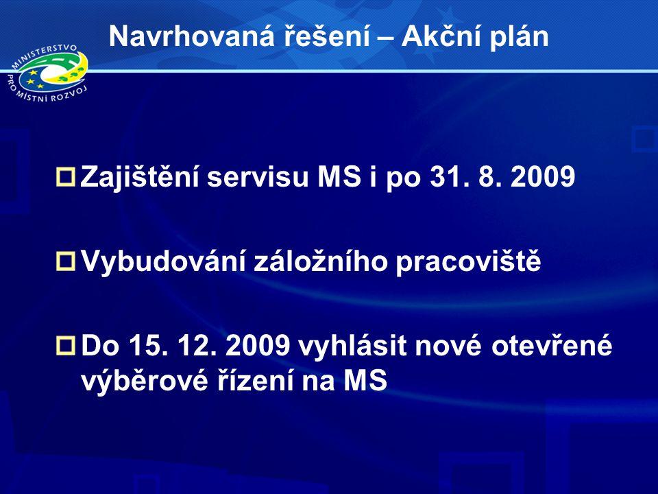 Navrhovaná řešení – Akční plán Zajištění servisu MS i po 31. 8. 2009 Vybudování záložního pracoviště Do 15. 12. 2009 vyhlásit nové otevřené výběrové ř