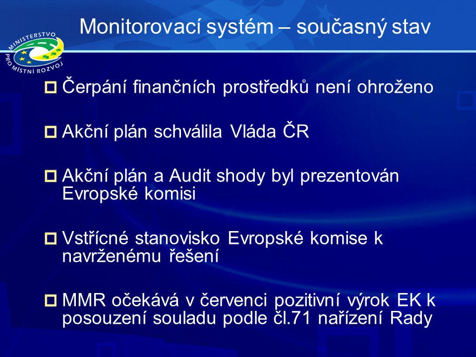 Čerpání finančních prostředků není ohroženo Akční plán schválila Vláda ČR Akční plán a Audit shody byl prezentován Evropské komisi Vstřícné stanovisko Evropské komise k navrženému řešení MMR očekává v červenci pozitivní výrok EK k posouzení souladu podle čl.71 nařízení Rady Monitorovací systém – současný stav