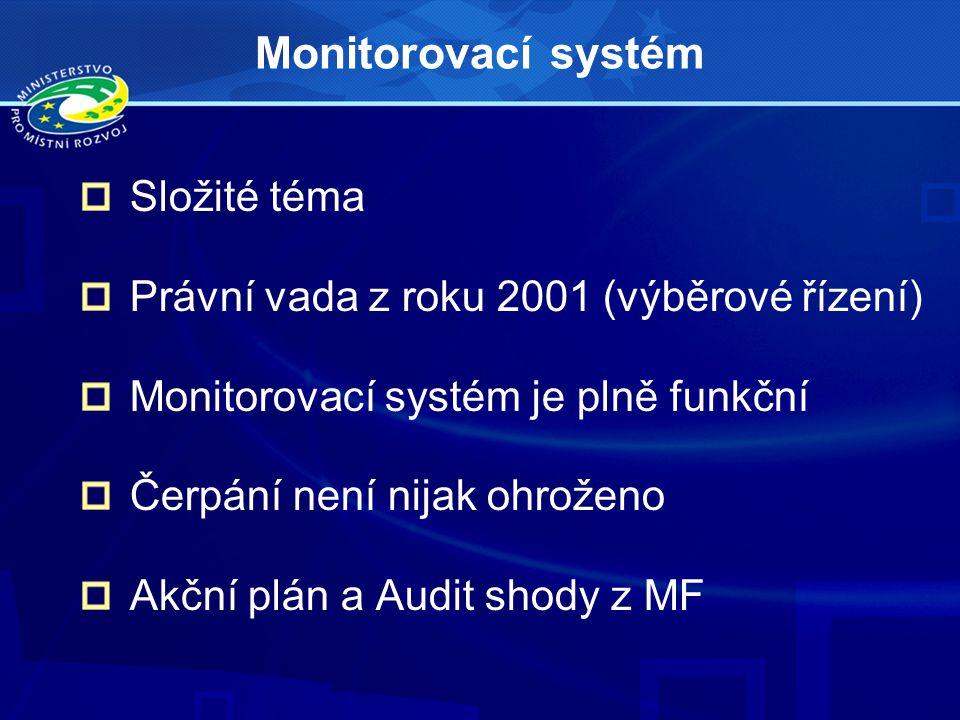 Monitorovací systém Složité téma Právní vada z roku 2001 (výběrové řízení) Monitorovací systém je plně funkční Čerpání není nijak ohroženo Akční plán a Audit shody z MF