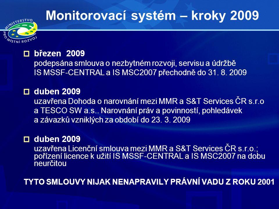 Monitorovací systém – kroky 2009 březen 2009 podepsána smlouva o nezbytném rozvoji, servisu a údržbě IS MSSF-CENTRAL a IS MSC2007 přechodně do 31.