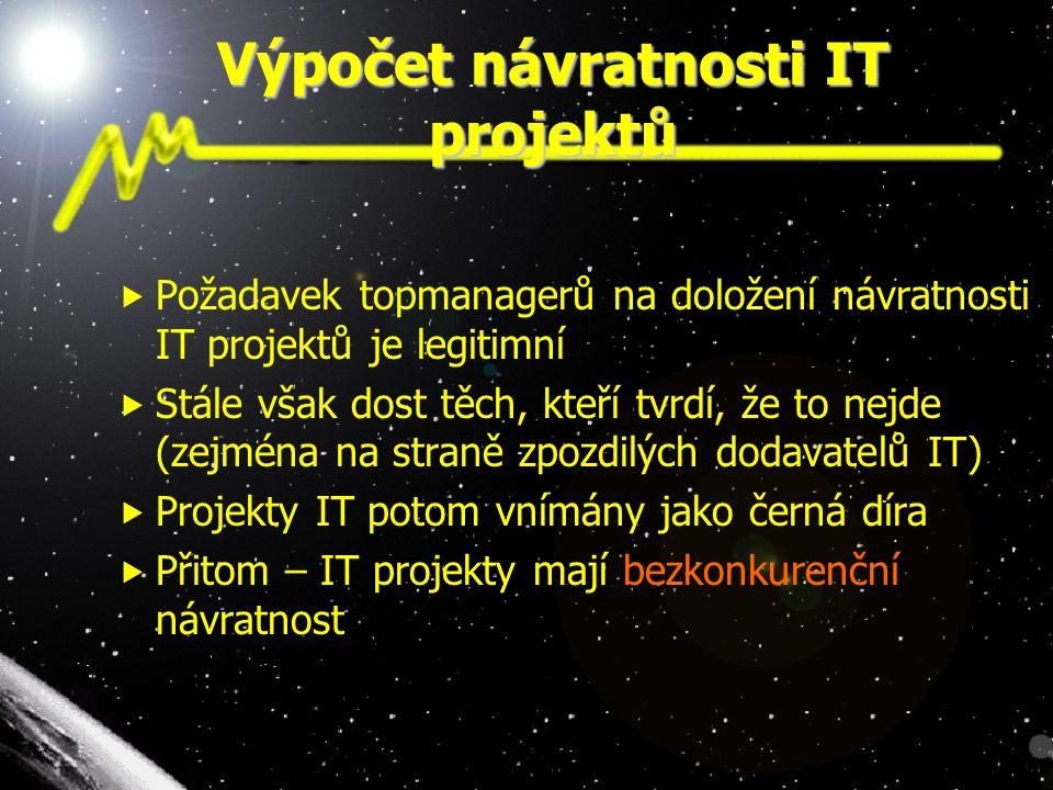 Výpočet návratnosti IT projektů  Požadavek topmanagerů na doložení návratnosti IT projektů je legitimní  Stále však dost těch, kteří tvrdí, že to ne