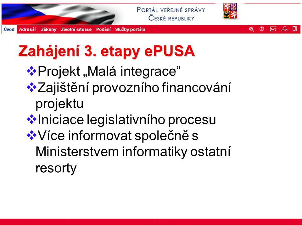"""Portál veřejné správy © 2002 IBM Corporation ISSS 2003 Zahájení 3. etapy ePUSA  Projekt """"Malá integrace""""  Zajištění provozního financování projektu"""
