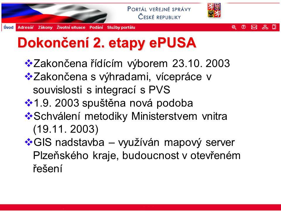 Portál veřejné správy © 2002 IBM Corporation ISSS 2003 Dokončení 2. etapy ePUSA  Zakončena řídícím výborem 23.10. 2003  Zakončena s výhradami, vícep