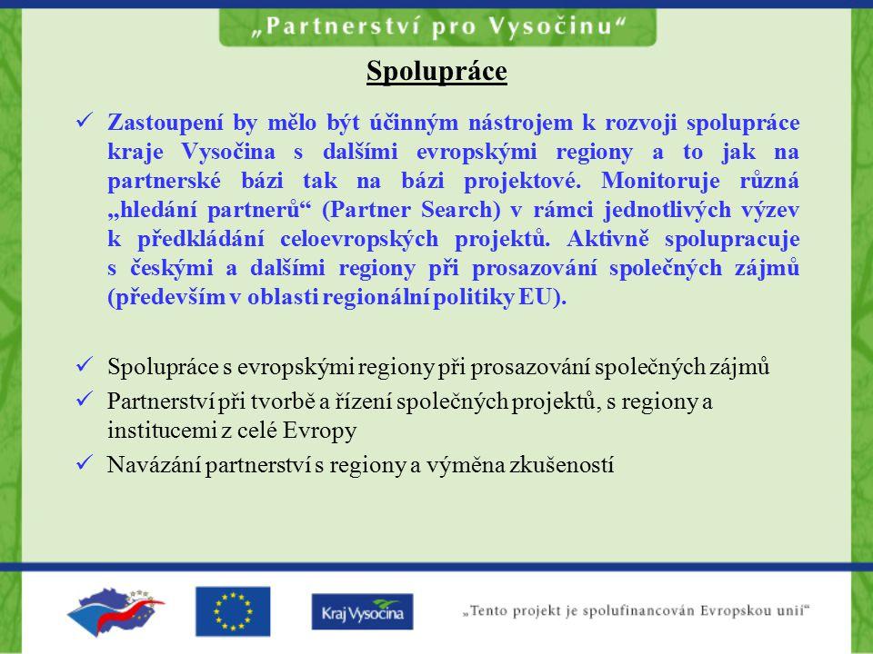 Spolupráce Zastoupení by mělo být účinným nástrojem k rozvoji spolupráce kraje Vysočina s dalšími evropskými regiony a to jak na partnerské bázi tak na bázi projektové.