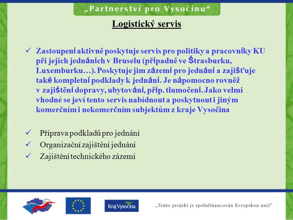 Logistický servis Zastoupen í aktivně poskytuje servis pro politiky a pracovn í ky KU při jejich jedn á n í ch v Bruselu (př í padně ve Š trasburku, Luxemburku…).