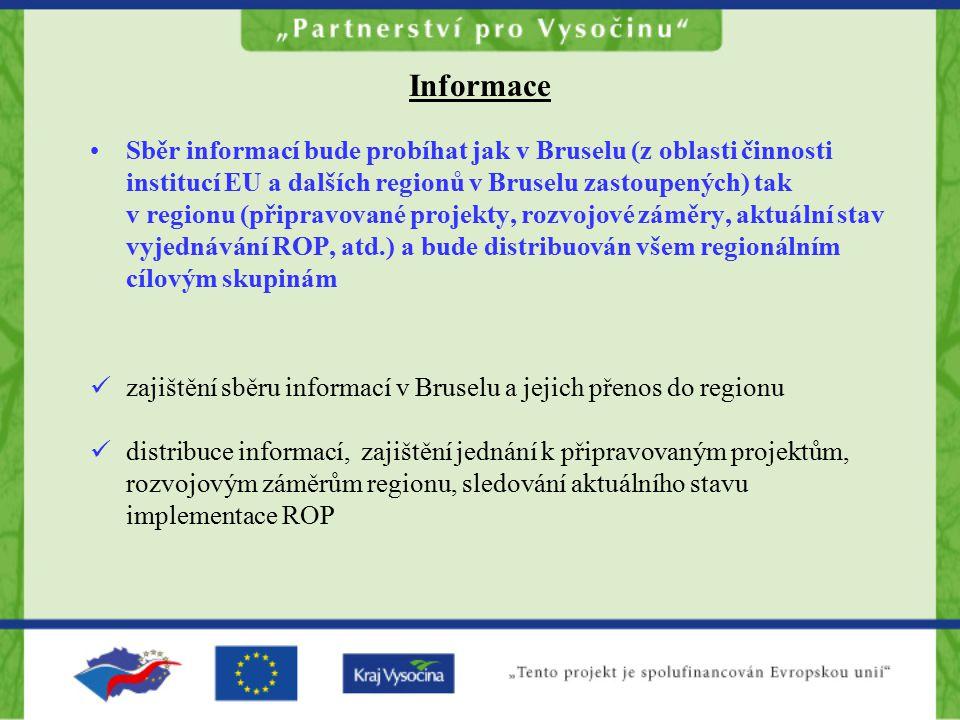 Informace Sběr informací bude probíhat jak v Bruselu (z oblasti činnosti institucí EU a dalších regionů v Bruselu zastoupených) tak v regionu (připravované projekty, rozvojové záměry, aktuální stav vyjednávání ROP, atd.) a bude distribuován všem regionálním cílovým skupinám zajištění sběru informací v Bruselu a jejich přenos do regionu distribuce informací, zajištění jednání k připravovaným projektům, rozvojovým záměrům regionu, sledování aktuálního stavu implementace ROP