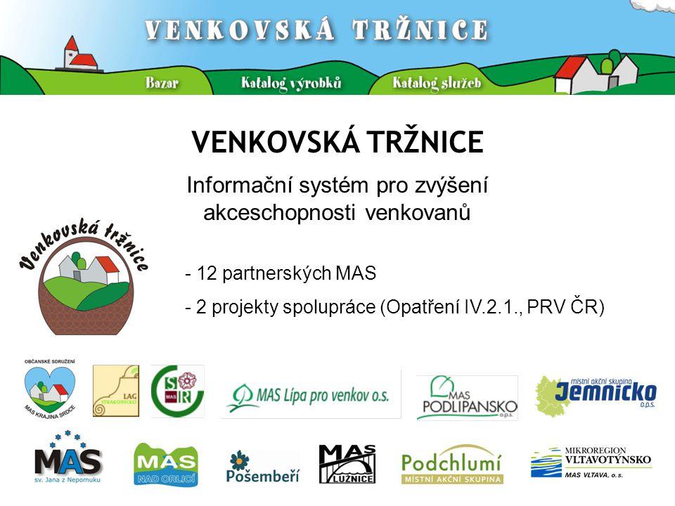 VENKOVSKÁ TRŽNICE Informační systém pro zvýšení akceschopnosti venkovanů - 12 partnerských MAS - 2 projekty spolupráce (Opatření IV.2.1., PRV ČR)