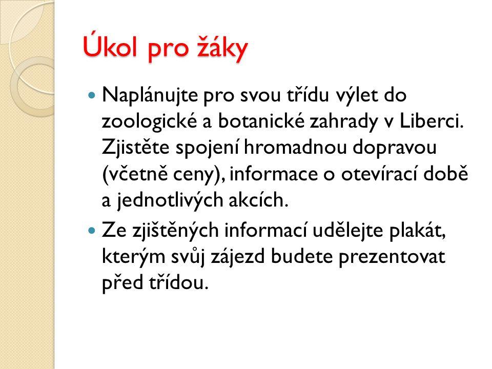 Úkol pro žáky Naplánujte pro svou třídu výlet do zoologické a botanické zahrady v Liberci. Zjistěte spojení hromadnou dopravou (včetně ceny), informac