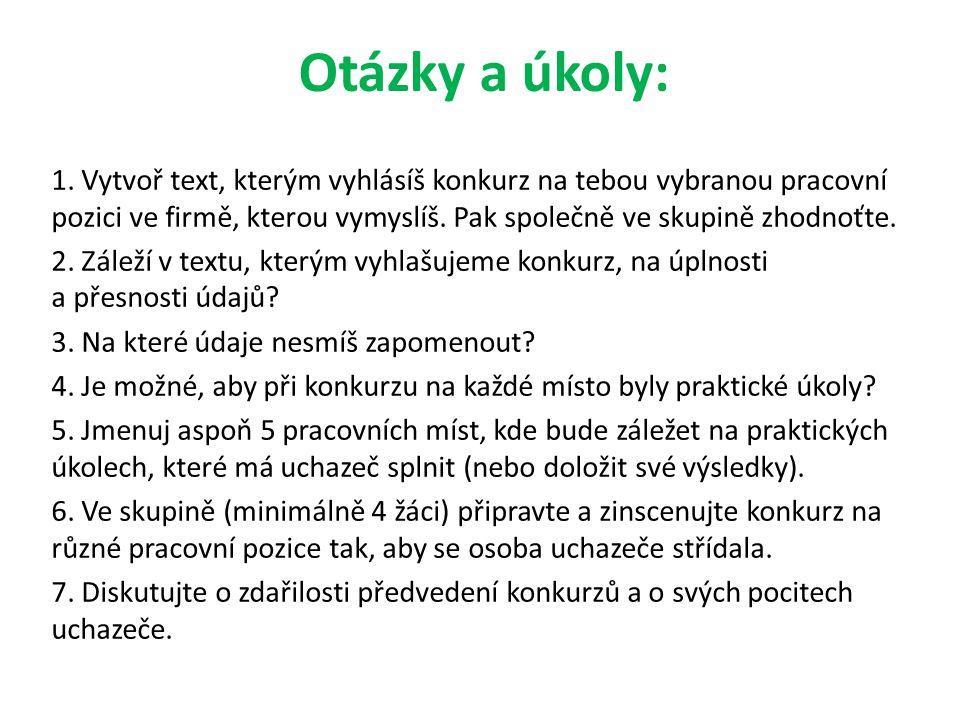 Otázky a úkoly: 1.