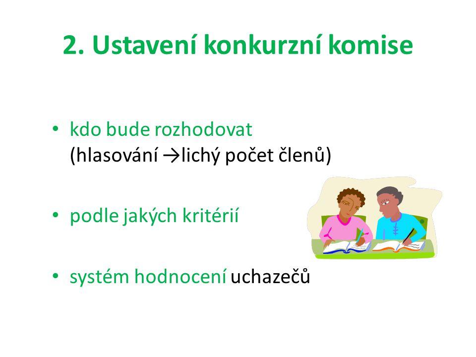 2. Ustavení konkurzní komise kdo bude rozhodovat (hlasování →lichý počet členů) podle jakých kritérií systém hodnocení uchazečů