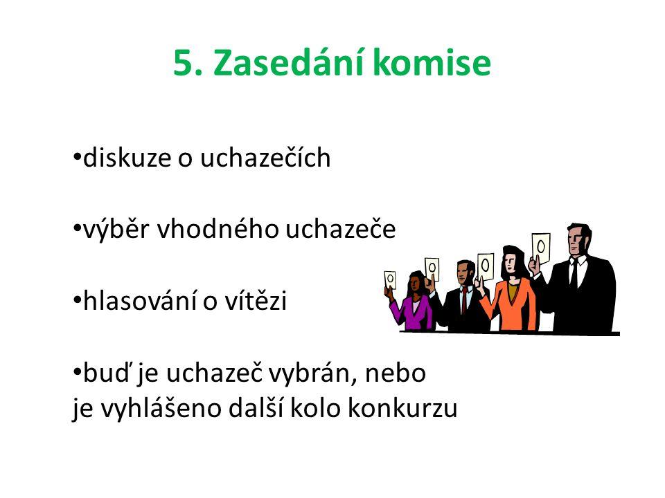 5. Zasedání komise diskuze o uchazečích výběr vhodného uchazeče hlasování o vítězi buď je uchazeč vybrán, nebo je vyhlášeno další kolo konkurzu