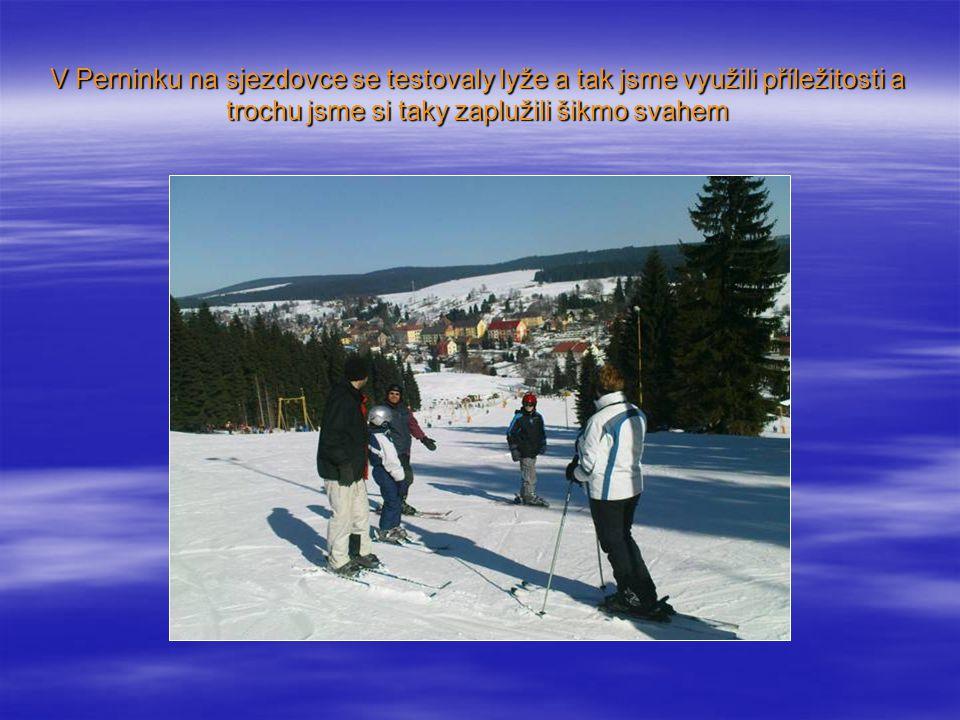 V Perninku na sjezdovce se testovaly lyže a tak jsme využili příležitosti a trochu jsme si taky zaplužili šikmo svahem