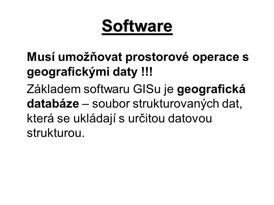 Software Musí umožňovat prostorové operace s geografickými daty !!! Základem softwaru GISu je geografická databáze – soubor strukturovaných dat, která