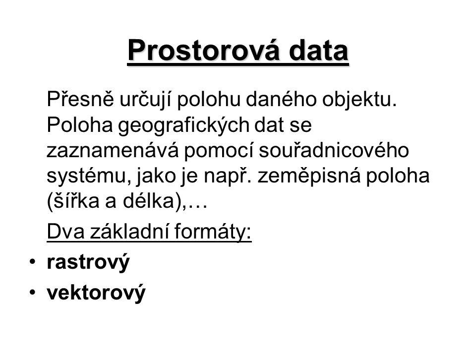 Prostorová data Přesně určují polohu daného objektu. Poloha geografických dat se zaznamenává pomocí souřadnicového systému, jako je např. zeměpisná po