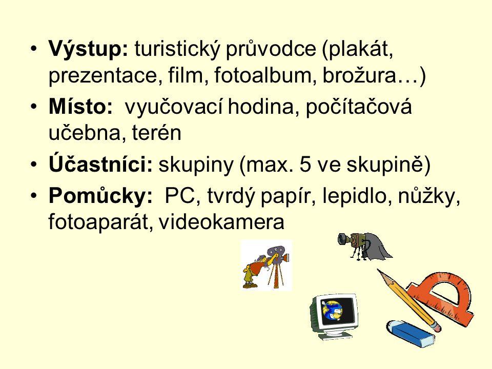 Výstup: turistický průvodce (plakát, prezentace, film, fotoalbum, brožura…) Místo: vyučovací hodina, počítačová učebna, terén Účastníci: skupiny (max.