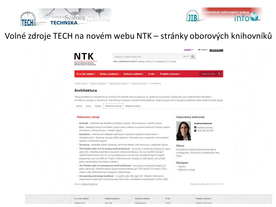 Volné zdroje TECH na novém webu NTK – stránky oborových knihovníků