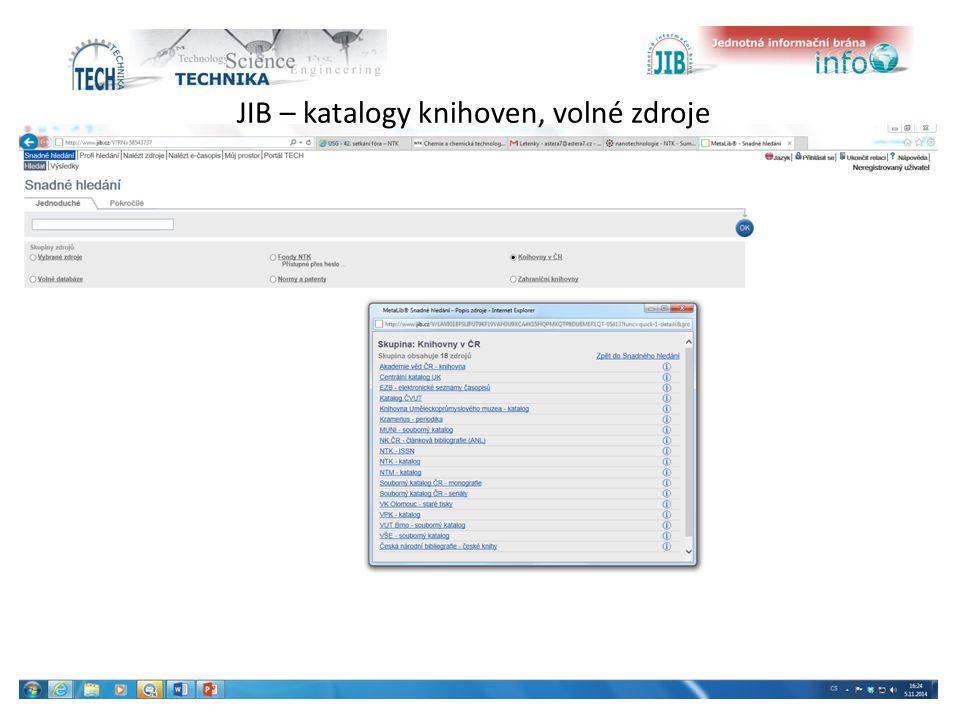 JIB – katalogy knihoven, volné zdroje