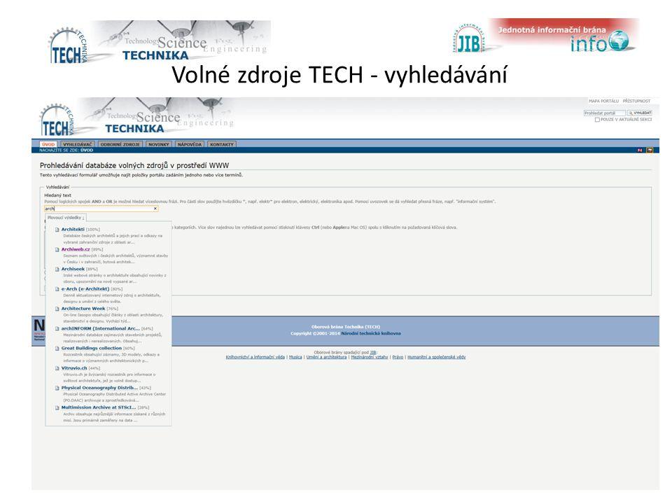 Volné zdroje TECH - vyhledávání