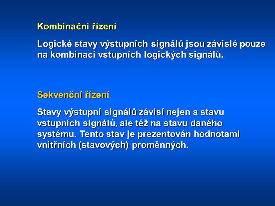 Kombinační řízení Sekvenční řízení Logické stavy výstupních signálů jsou závislé pouze na kombinaci vstupních logických signálů. Stavy výstupní signál