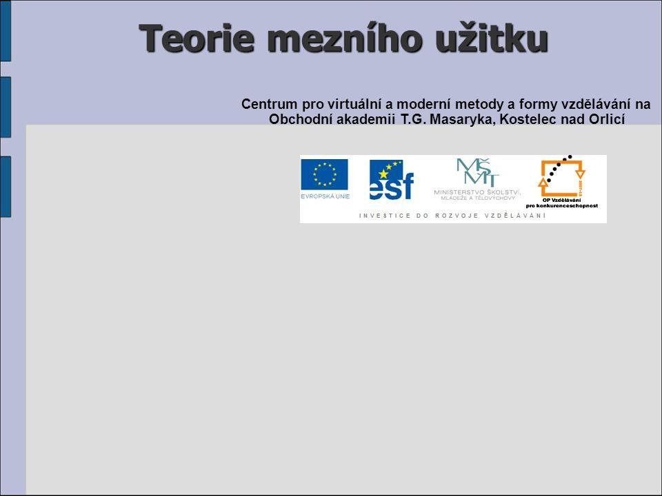 Teorie mezního užitku Centrum pro virtuální a moderní metody a formy vzdělávání na Obchodní akademii T.G.