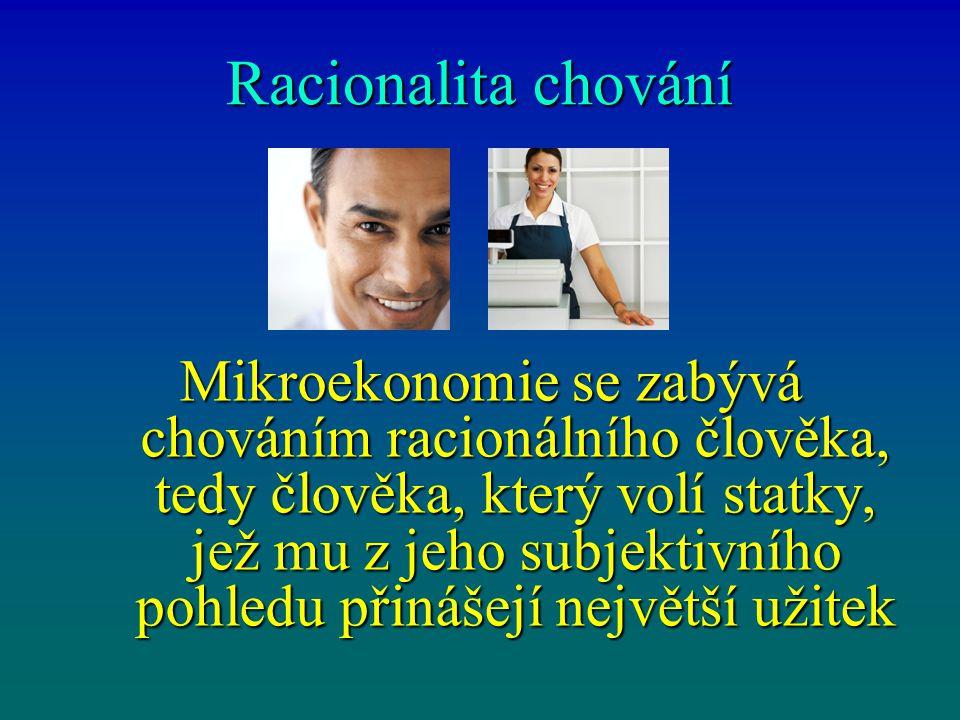 Racionalita chování Mikroekonomie se zabývá chováním racionálního člověka, tedy člověka, který volí statky, jež mu z jeho subjektivního pohledu přináš