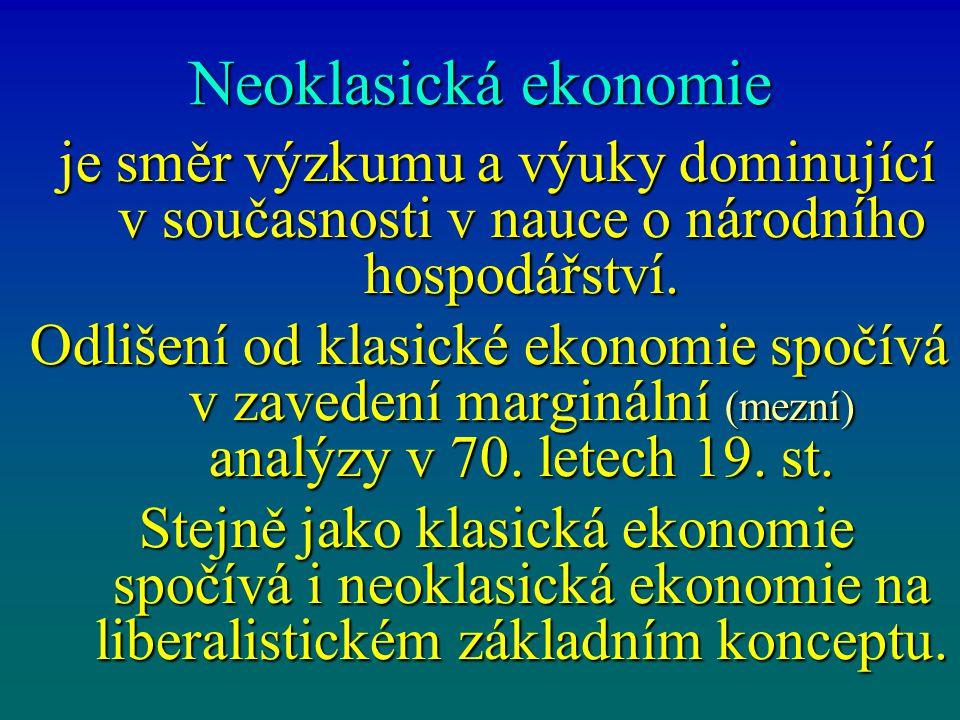Neoklasická ekonomie je směr výzkumu a výuky dominující v současnosti v nauce o národního hospodářství. je směr výzkumu a výuky dominující v současnos