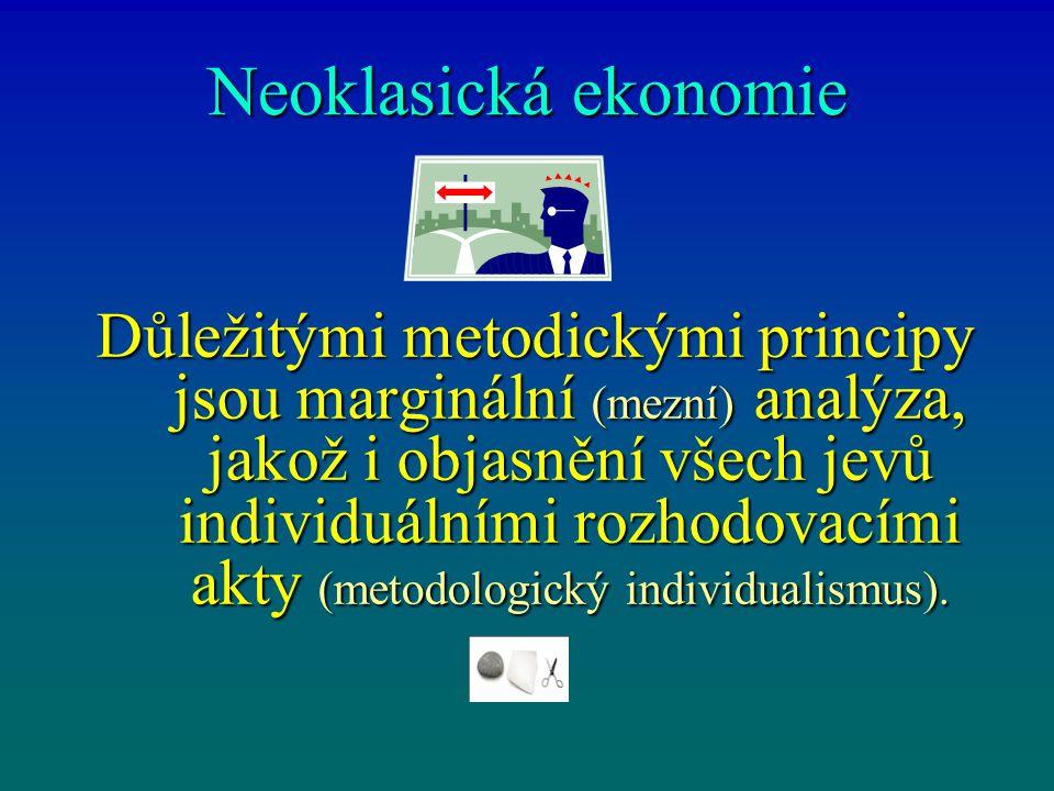 Neoklasická ekonomie Důležitými metodickými principy jsou marginální (mezní) analýza, jakož i objasnění všech jevů individuálními rozhodovacími akty (