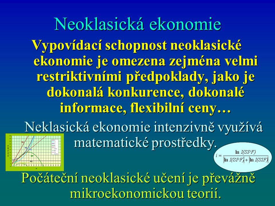 Neoklasická ekonomie Vypovídací schopnost neoklasické ekonomie je omezena zejména velmi restriktivními předpoklady, jako je dokonalá konkurence, dokon
