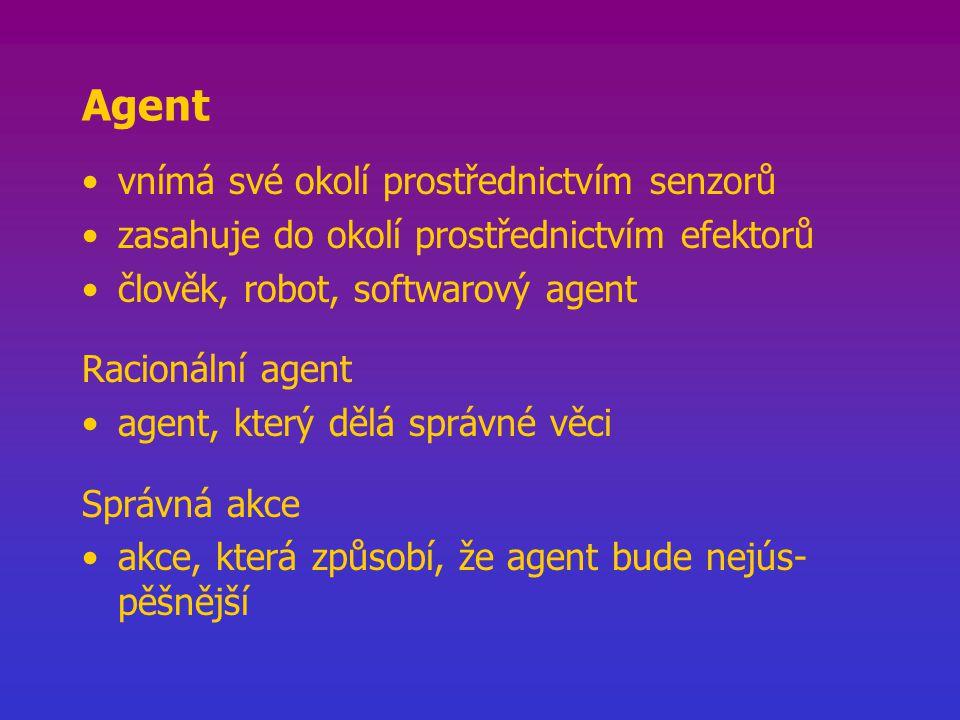 Programy agenta function Kostra-agenta (vjem) akce paměť, agentova paměť obsahující svět –paměť  Aktualizace_paměti (paměť, vjem) –akce  Výběr_nejlepší_akce (paměť) –paměť  Aktualizace_paměti (paměť, akce) return akce vstupní údaj je jeden vjem cíl nebo míra výkonu není součástí programu