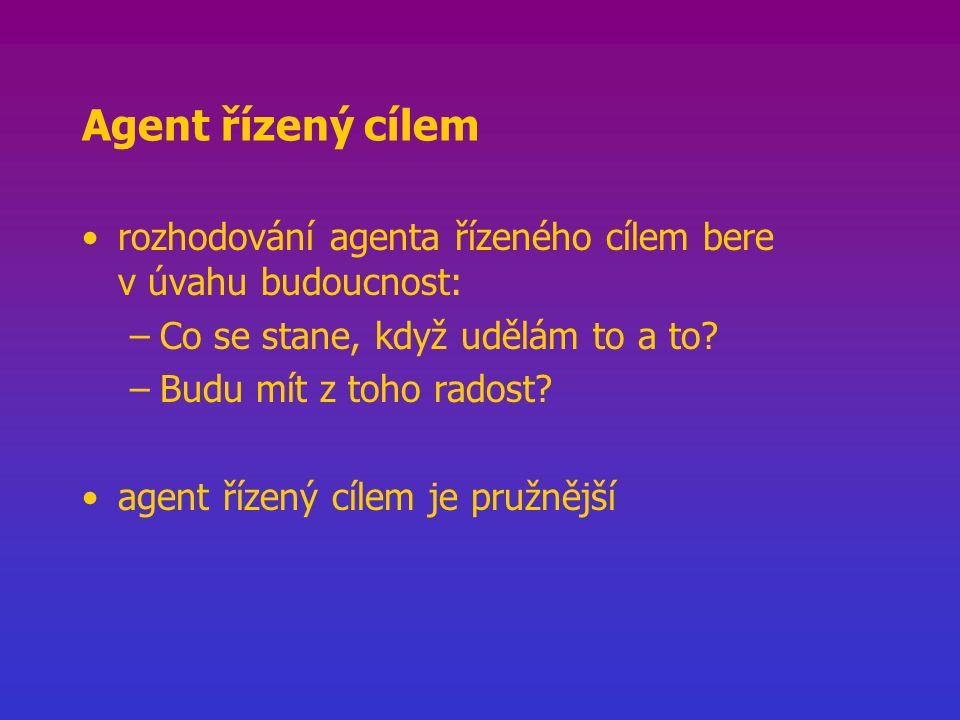 Agent řízený cílem rozhodování agenta řízeného cílem bere v úvahu budoucnost: –Co se stane, když udělám to a to.