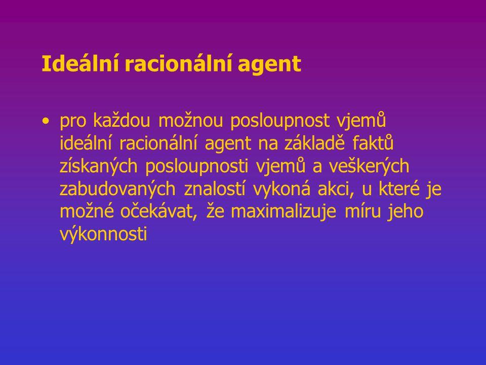 Ideální racionální agent pro každou možnou posloupnost vjemů ideální racionální agent na základě faktů získaných posloupnosti vjemů a veškerých zabudovaných znalostí vykoná akci, u které je možné očekávat, že maximalizuje míru jeho výkonnosti