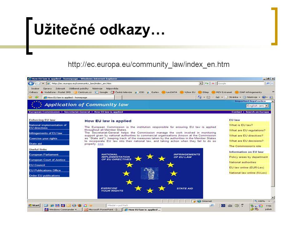 Užitečné odkazy… http://ec.europa.eu/community_law/index_en.htm