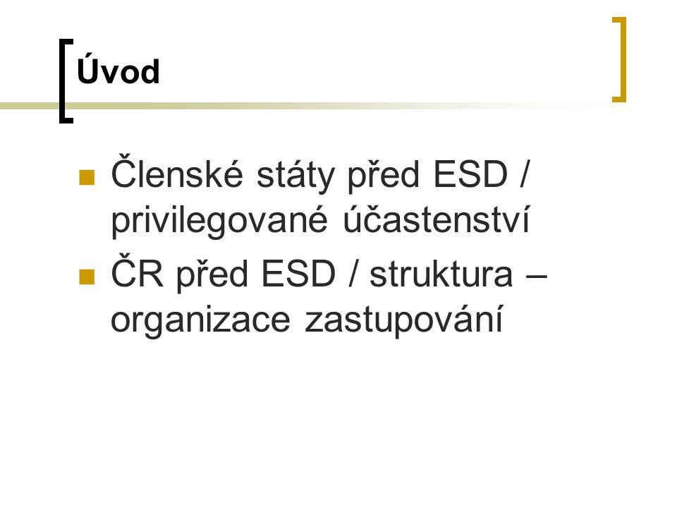 Úvod Členské státy před ESD / privilegované účastenství ČR před ESD / struktura – organizace zastupování