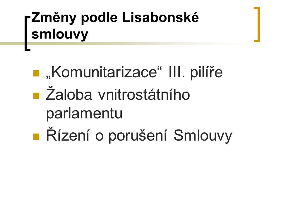 """Změny podle Lisabonské smlouvy """"Komunitarizace"""" III. pilíře Žaloba vnitrostátního parlamentu Řízení o porušení Smlouvy"""