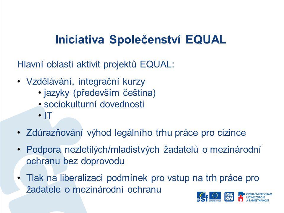 Iniciativa Společenství EQUAL Hlavní oblasti aktivit projektů EQUAL: Vzdělávání, integrační kurzy jazyky (především čeština) sociokulturní dovednosti