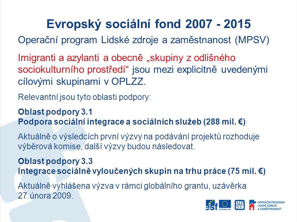 """Evropský sociální fond 2007 - 2015 Operační program Lidské zdroje a zaměstnanost (MPSV) Imigranti a azylanti a obecně """"skupiny z odlišného sociokulturního prostředí jsou mezi explicitně uvedenými cílovými skupinami v OPLZZ."""