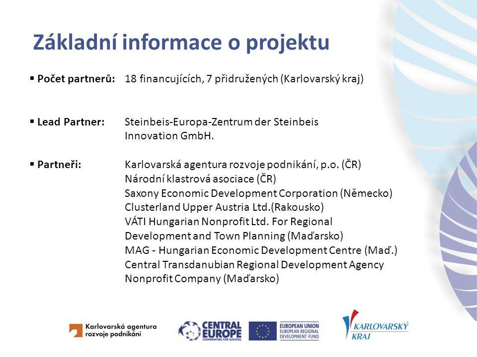 Základní informace o projektu  Počet partnerů:18 financujících, 7 přidružených (Karlovarský kraj)  Lead Partner:Steinbeis-Europa-Zentrum der Steinbeis Innovation GmbH.