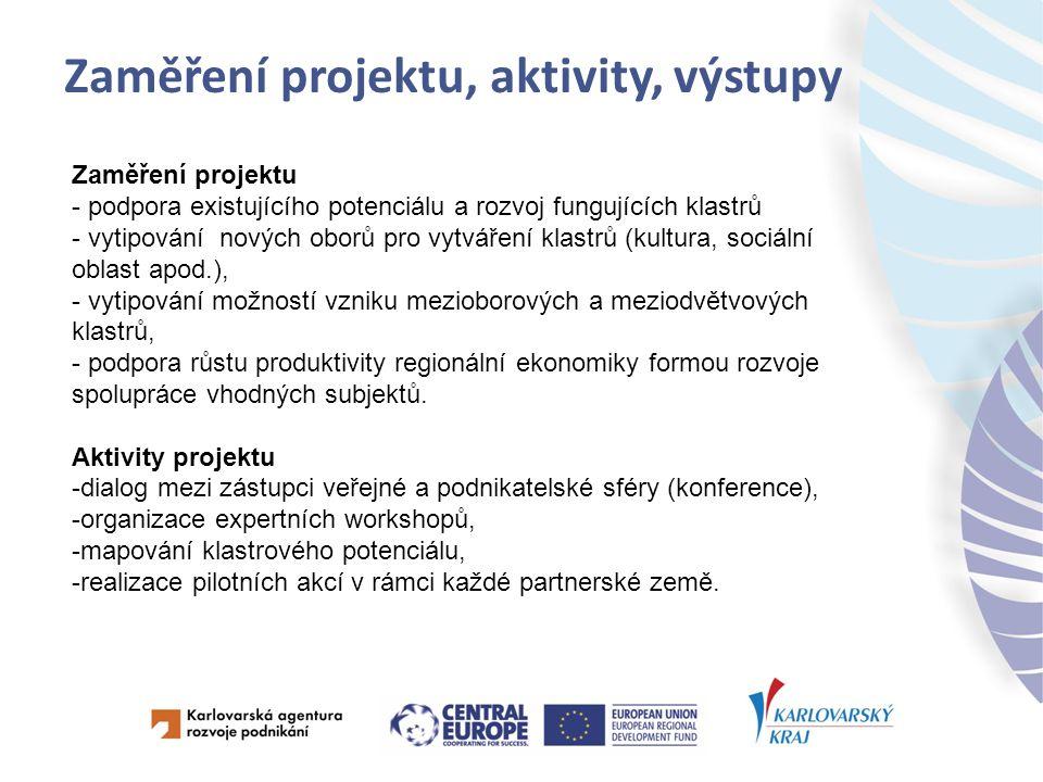 Zaměření projektu, aktivity, výstupy Zaměření projektu - podpora existujícího potenciálu a rozvoj fungujících klastrů - vytipování nových oborů pro vytváření klastrů (kultura, sociální oblast apod.), - vytipování možností vzniku mezioborových a meziodvětvových klastrů, - podpora růstu produktivity regionální ekonomiky formou rozvoje spolupráce vhodných subjektů.