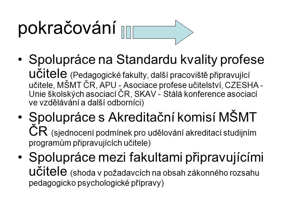 pokračování Spolupráce na Standardu kvality profese učitele (Pedagogické fakulty, další pracoviště připravující učitele, MŠMT ČR, APU - Asociace profe