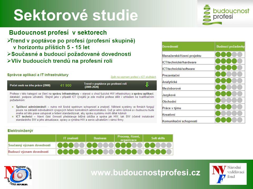 www.budoucnostprofesi.cz Sektorové studie Budoucnost profesí v sektorech  Trend v poptávce po profesi (profesní skupině) v horizontu příštích 5 - 15