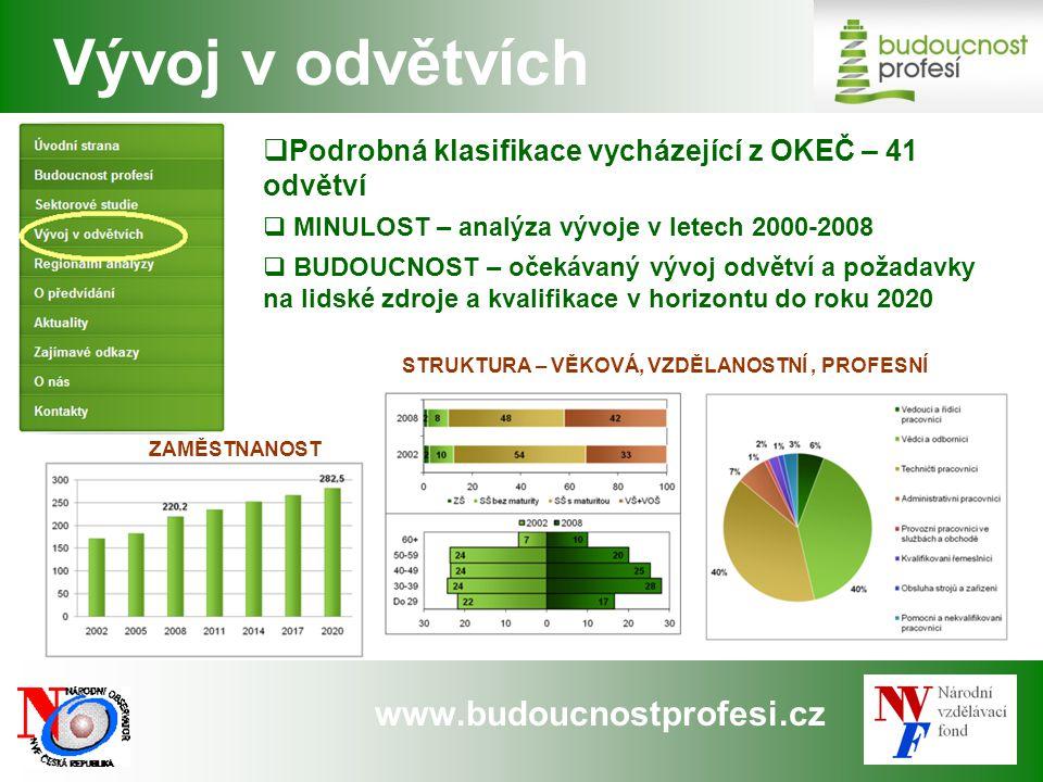 www.budoucnostprofesi.cz  Podrobná klasifikace vycházející z OKEČ – 41 odvětví  MINULOST – analýza vývoje v letech 2000-2008  BUDOUCNOST – očekávaný vývoj odvětví a požadavky na lidské zdroje a kvalifikace v horizontu do roku 2020 Vývoj v odvětvích ZAMĚSTNANOST STRUKTURA – VĚKOVÁ, VZDĚLANOSTNÍ, PROFESNÍ