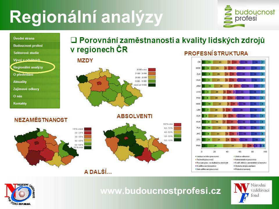 www.budoucnostprofesi.cz  Porovnání zaměstnanosti a kvality lidských zdrojů v regionech ČR Regionální analýzy NEZAMĚSTNANOST PROFESNÍ STRUKTURA MZDY ABSOLVENTI A DALŠÍ…