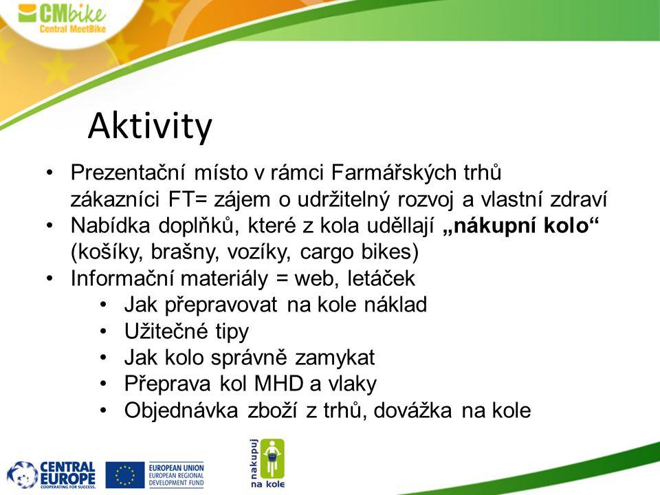 """Aktivity Prezentační místo v rámci Farmářských trhů zákazníci FT= zájem o udržitelný rozvoj a vlastní zdraví Nabídka doplňků, které z kola uděllají """"n"""
