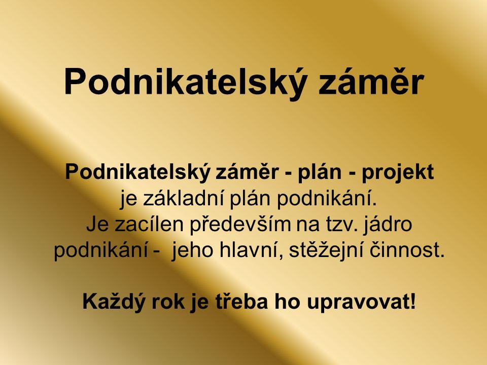 Podnikatelský záměr Podnikatelský záměr - plán - projekt je základní plán podnikání.