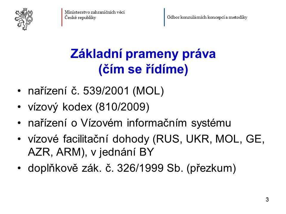 3 Základní prameny práva (čím se řídíme) nařízení č. 539/2001 (MOL) vízový kodex (810/2009) nařízení o Vízovém informačním systému vízové facilitační